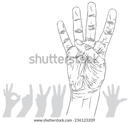 Numbers hand signs set, number four, detailed black and white lines vector illustration, hand drawn.