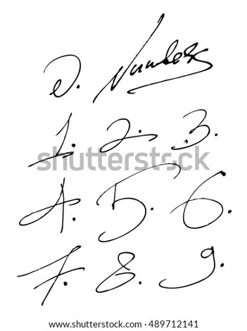Numbers handwritten set isolated on white background