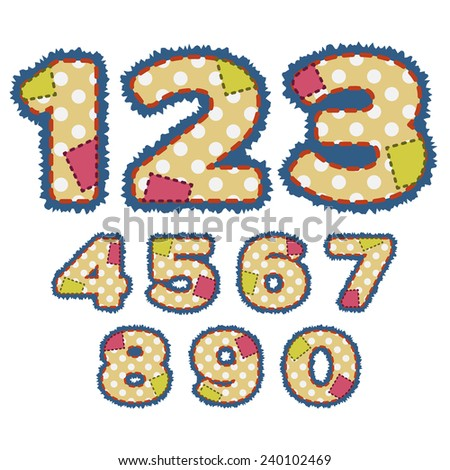 Numbers in patchwork design with stitches and patches.  - stock vector
