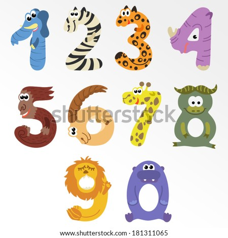 Numbers like african animals / Solid fill illustration in EPS 8 format - stock vector