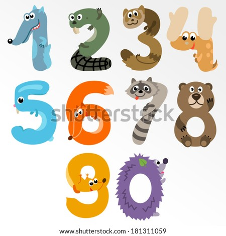Numbers like European Forest Animals / Solid fill illustration in EPS 8 format - stock vector