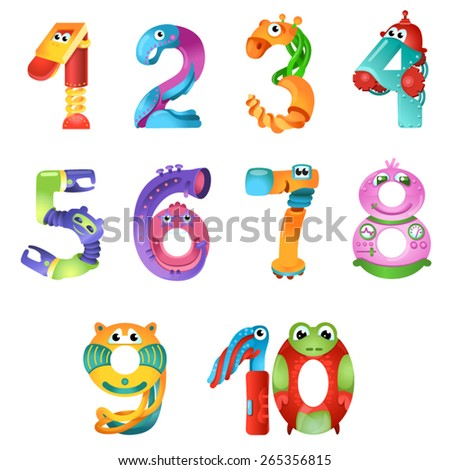 Numbers like robots in fairy style / There are numbers from one to ten in fairy style like different robots. Bright and colorful gradient illustration  - stock vector