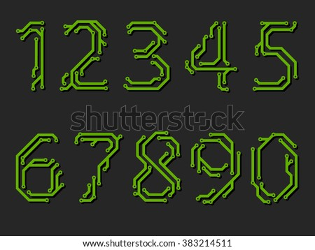 Numbers made from printed circuit board - stock vector
