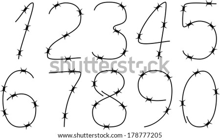 numbers of barbed wire - stock vector