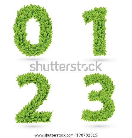 Numbers of green leaves with drop shadow. Eps 10 vector illustration - stock vector