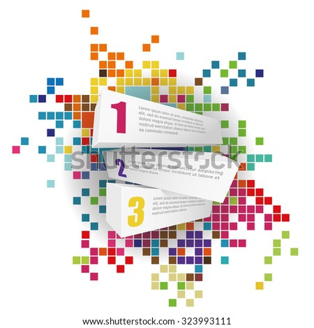 Numbers on stones and background with rectangles. - stock vector