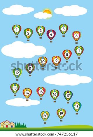 Numbers 120 Printable Exercises Worksheet Kids Stock Vector ...