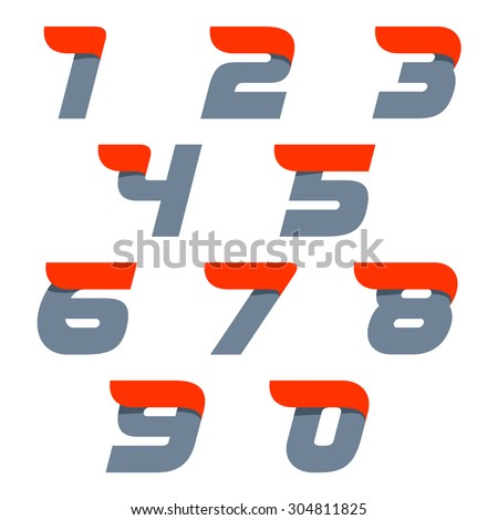 Numbers set. Fast speed vector unusual numbers. Vector design template elements for your application or company. - stock vector