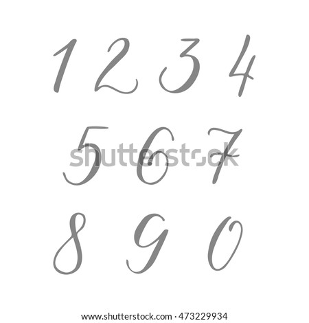 Numbers Set From 0 To 9 In Hand Drawn Calligraphy Style Vector Design Template Elements
