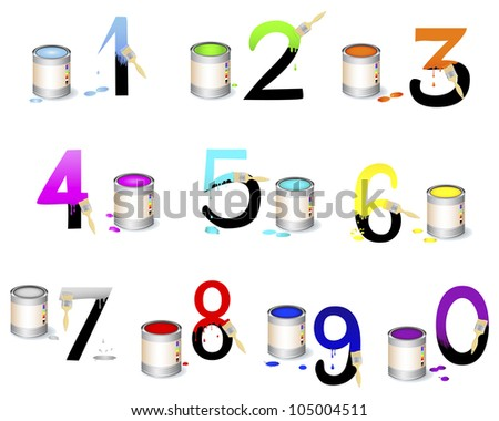 Numbers Set. Not fully painted numbers with paint dripping, brushes and paint cans. Vector illustration.