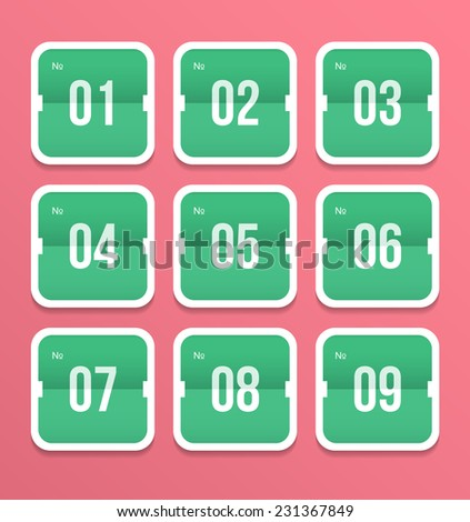 Numbers set. Vector Illustration. - stock vector