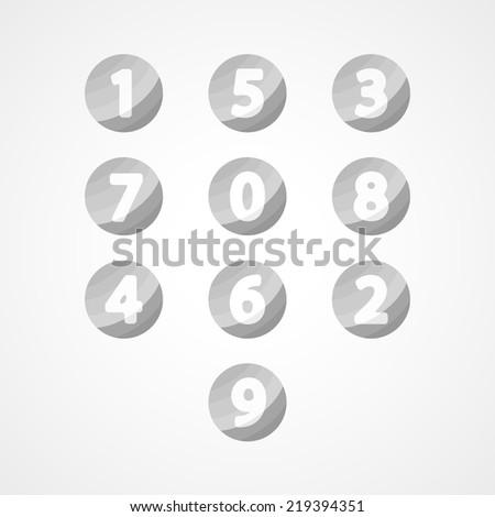 Numbers set web icon on white background - stock vector