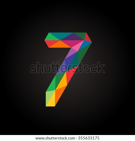 Numbers seven (7) in modern polygonal crystal style.Vector illustration colorful bright design. Formed by triangles. For party poster, greeting card, banner & invitation. Cute numerical icons & signs. - stock vector