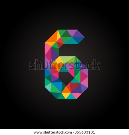 Numbers six (6) in modern polygonal crystal style. Vector illustration colorful bright design. Formed by triangles. For party poster, greeting card, banner & invitation. Cute numerical icons & signs. - stock vector