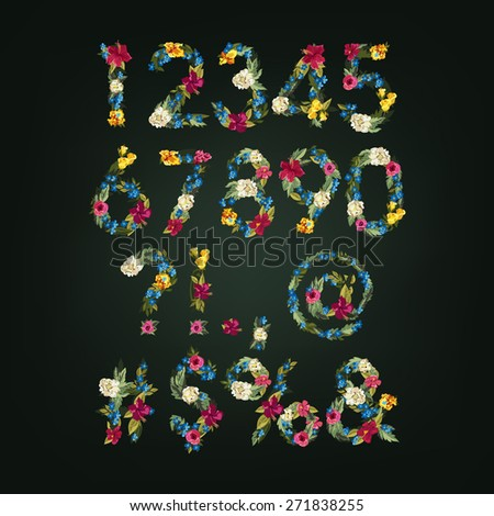 Numbers, Vector Colorful Flower Font For Your Design. - stock vector
