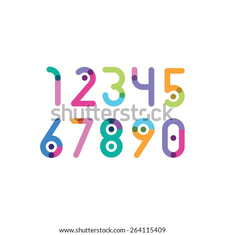 numbers with a bright point - stock vector