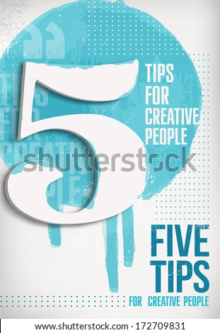Numeral themed abstract poster. Five - stock vector