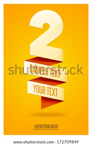 Numeral themed abstract poster. Two - stock vector