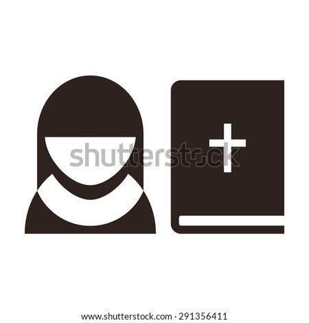 Nun and bible icon. Church symbol  isolated on white background - stock vector