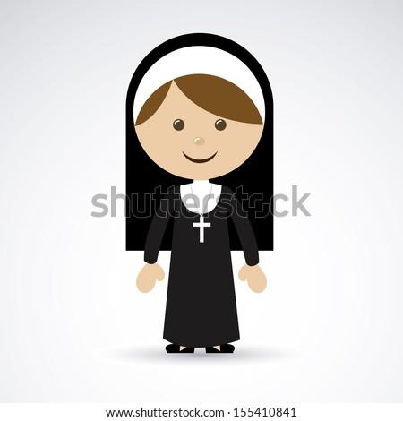 nun design over gray background vector illustration   - stock vector