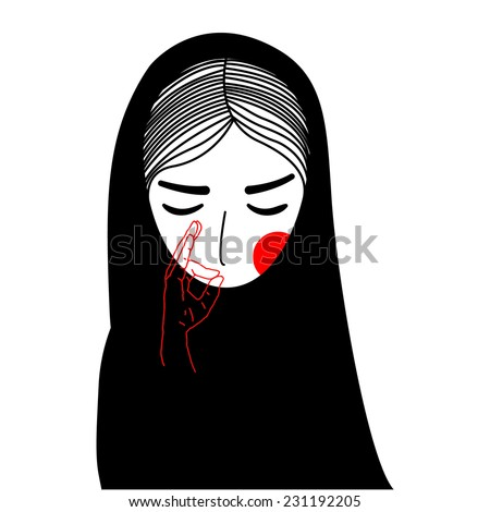 Nun is giving a vow of silence. Vector style illustration - stock vector