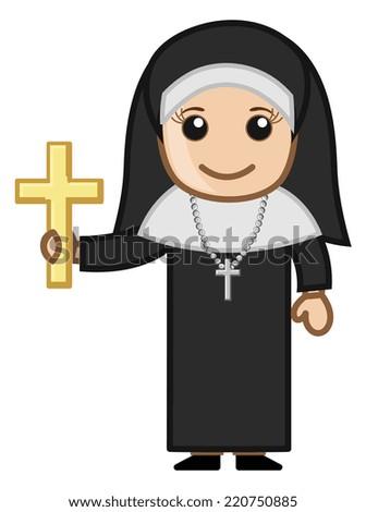 Nun with Golden Cross - Vector Character Cartoon Illustration - stock vector