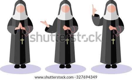 nuns flat - stock vector