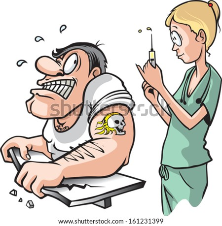 Nurse and strong Man. A cartoon of a nurse about to give a shot to a scared adult muscle bound male. Layered vector file. - stock vector