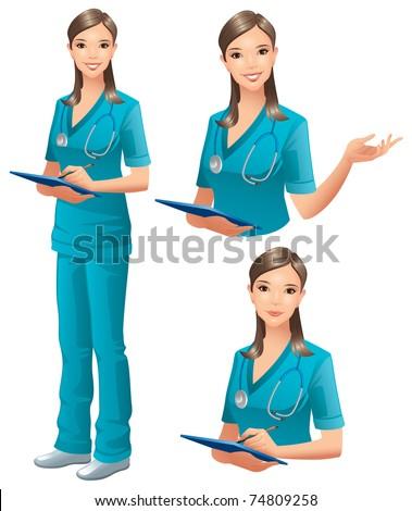 Nurse, Doctor - stock vector