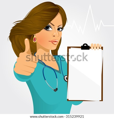 nurse, doctor holding a blank medical clipboard and giving thumbs up on white background - stock vector