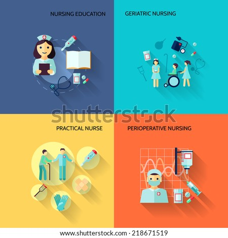 Nurse education geriatric practical medical service flat icons set isolated vector illustration - stock vector