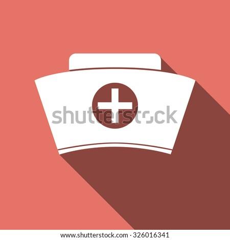 Nurse hat icon with long shadow. Vector illustration. - stock vector