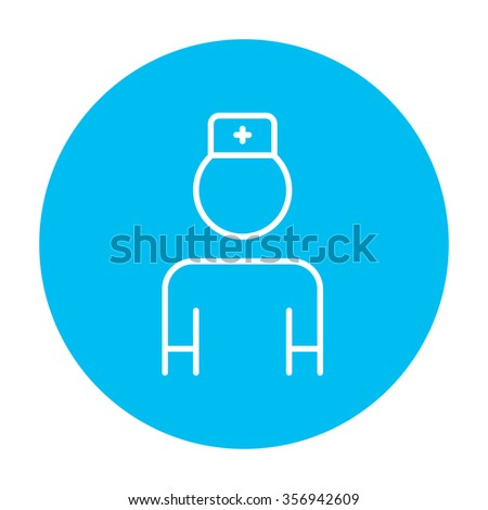 Nurse line icon for web, mobile and infographics. Vector white icon on the light blue circle isolated on white background. - stock vector