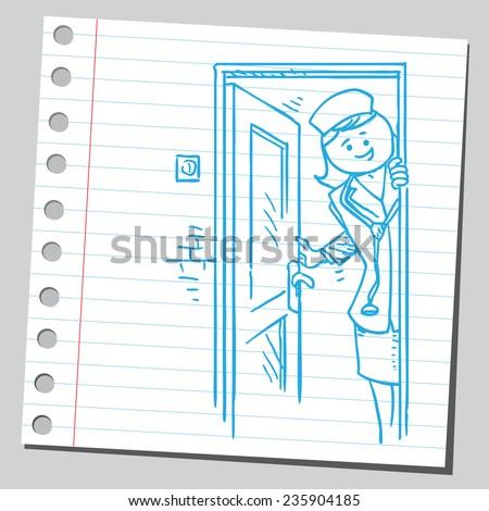 Nurse opening door - stock vector