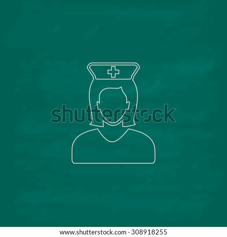 Nurse. Outline vector icon. Imitation draw with white chalk on green chalkboard. Flat Pictogram and School board background. Illustration symbol - stock vector