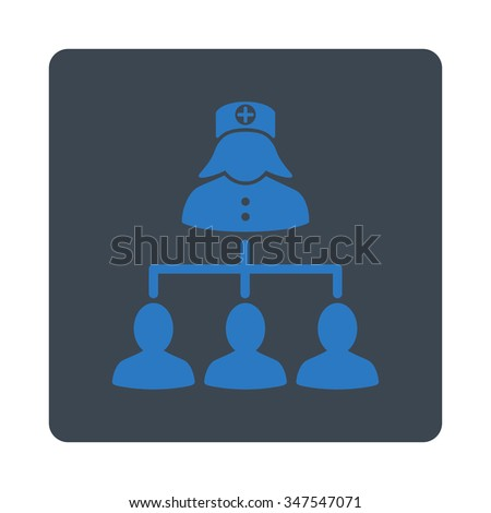 Nurse Patients vector icon. Style is flat rounded square button, smooth blue colors, white background.