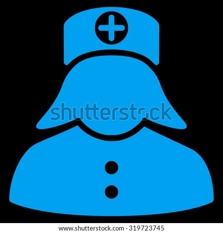 Nurse vector icon. Style is flat symbol, blue color, rounded angles, black background.