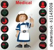 Nurse with a selection of medical icons with copy space - stock vector