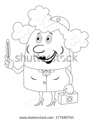 Nurse, woman doctor, cartoon character in uniform with first-aid kit and thermometer, black contour on white background. Vector - stock vector