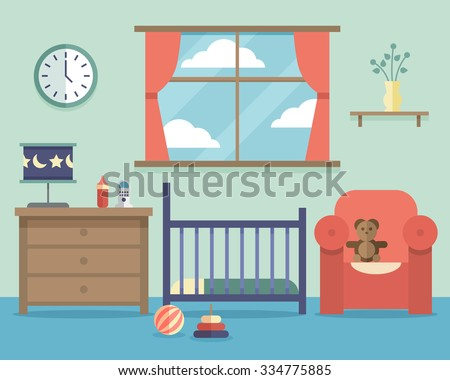 nursery baby room interior with furniture in flat style house indoor design bedroom vector - How To Design A Baby Room