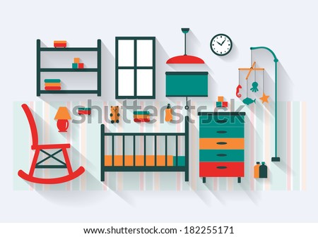 Nursery or Baby Room with Cot Furniture and Fittings Long Shadows  - stock vector