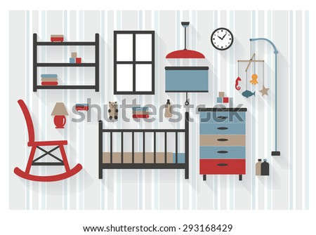 Nursery Room Furniture with Baby Cot and Rocking Chair Flat Icons - All Long Shadows on one layer - contains blends  - stock vector