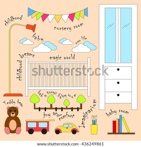 Nursery room. Vector illustration Set of furniture for nursery room. Nursery room cartoon style