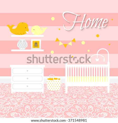 Nursery room with white furniture. Baby pink stripe interior. Girl room design with bed, crib mobile, chest of drawers and toy bin. Lace ornament floor. Flat style vector illustration. - stock vector