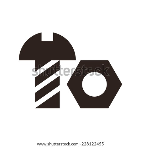 Nut and bolt icon isolated on white background - stock vector