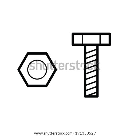 nut and bolt outline vector - stock vector