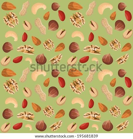 Nut mix seamless pattern of dried peanut walnut hazelnut pistachio vector illustration
