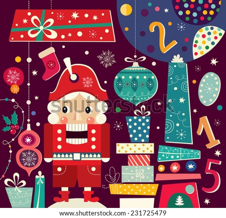 Nutcracker. Christmas vector illustration with gift boxes - stock vector