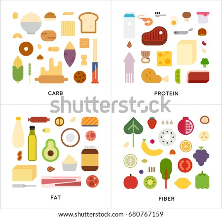 Nutrient starters: carbohydrates, protein, fat, fiber vector illustration flat design