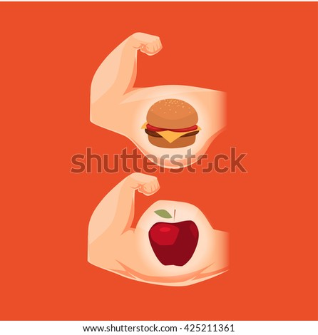 Nutrition and a body. Concept vector illustration. - stock vector